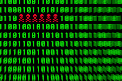 Red virus alert in a green binary code